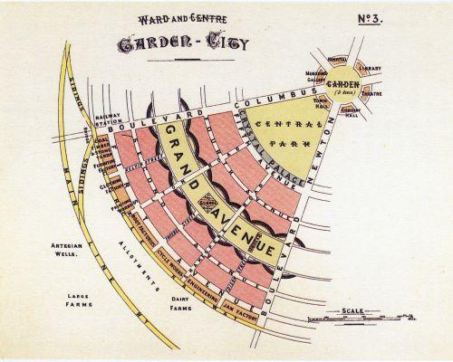 Een tuinstad-diagram van Ebenezer Howard